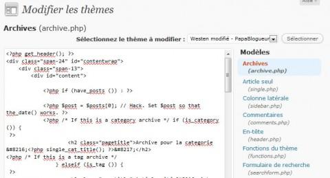 modifier le code d'une page dans wordpress