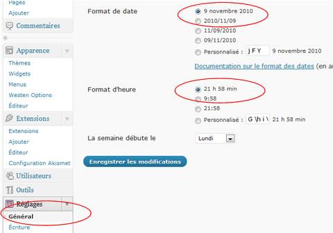gestion du format de date et d'heure sous wp