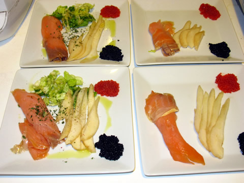 recette saumon froid et tranche de poires