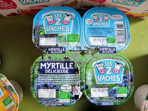 yaourts aux mytilles les 2 vaches