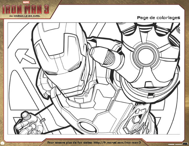 coloriages iron man 3 activites a imprime
