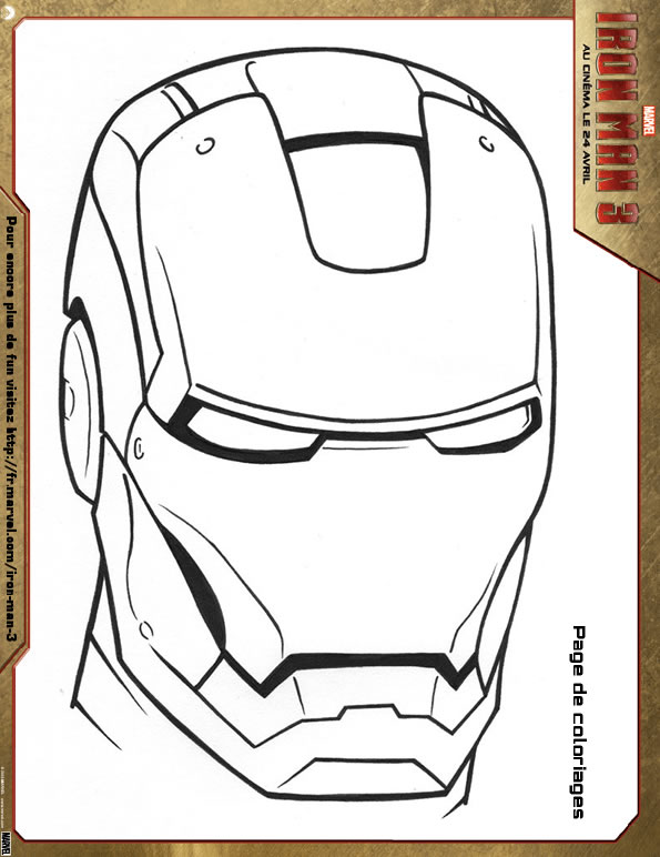 masque iron-man 3 à colorier