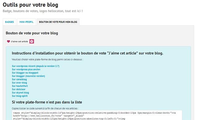 insérer un bouton de partage hellocoton sur son blog