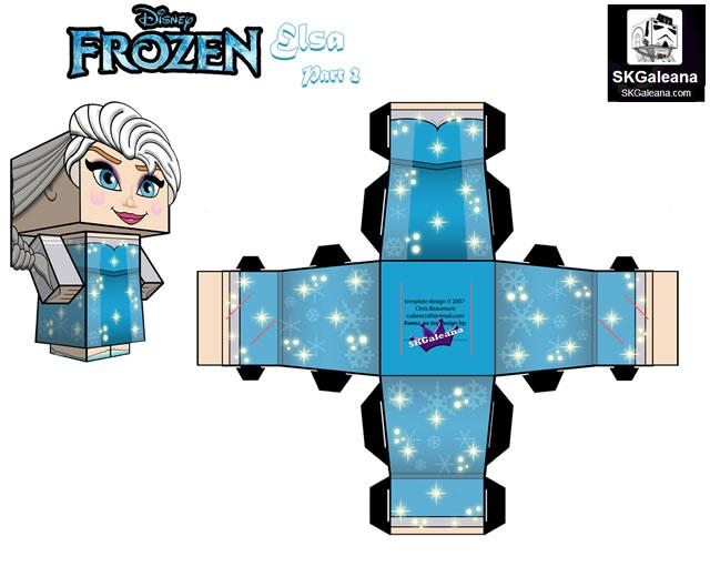 papertoys elsa reine des neiges