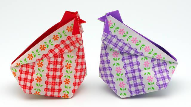 poule de pâques en origami