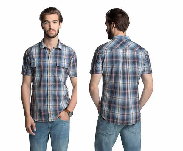 Chemise à carreaux et effet délavé