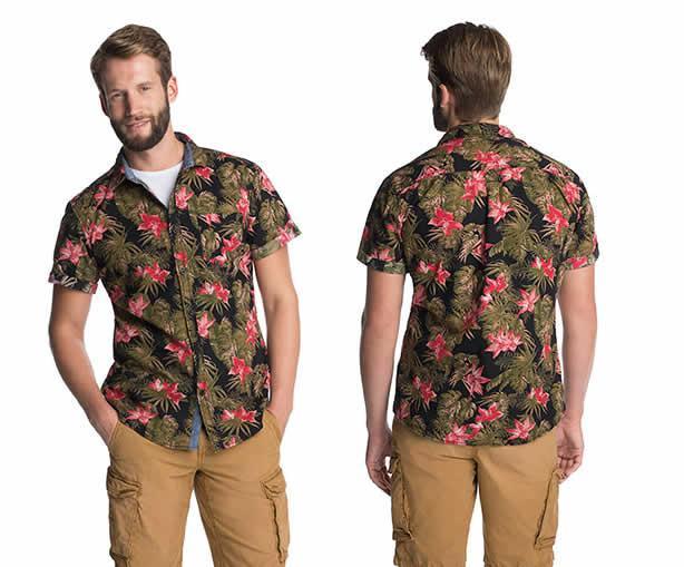 Chemise à imprimé tropical, coton