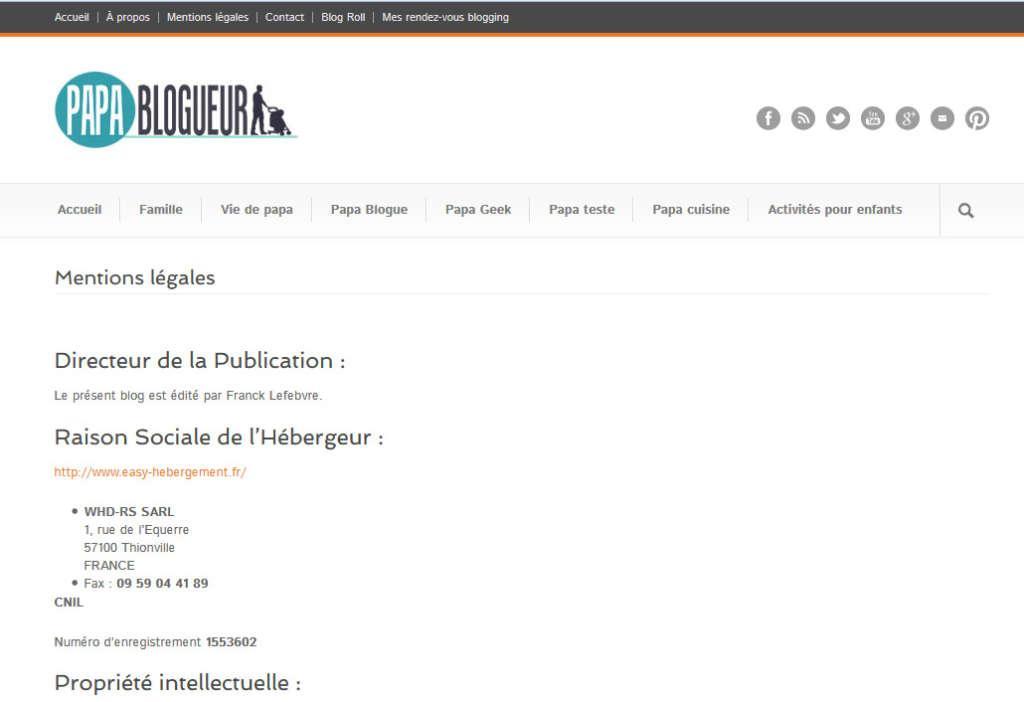 mentions légales blog