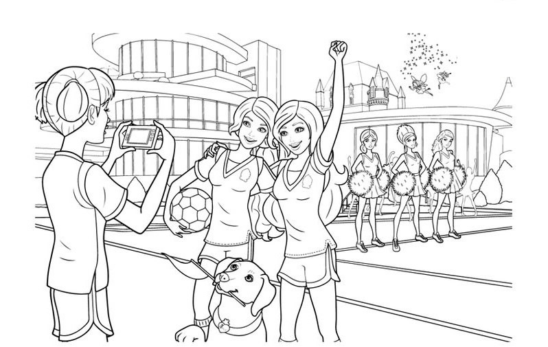 barbie-coloriage-football