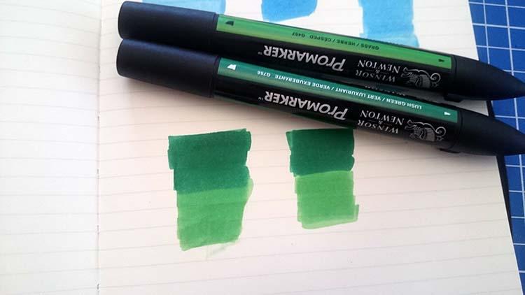 Test de couleurs de nuances différentes superposées Promarker pour donner un dégradé de couleur