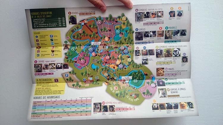 Plan de la Vallée des singes au Pays du Futuroscope