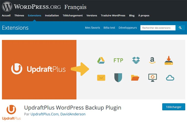 UpdraftPlus plugin WordPress de Sauvegarde