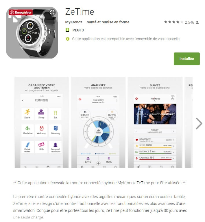 Application Androïd ZeTime