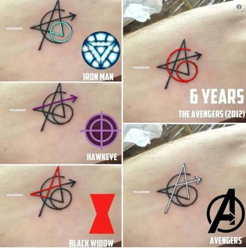 Original #Avengers actors got matching tattoos in celebration of #InfinityWar!