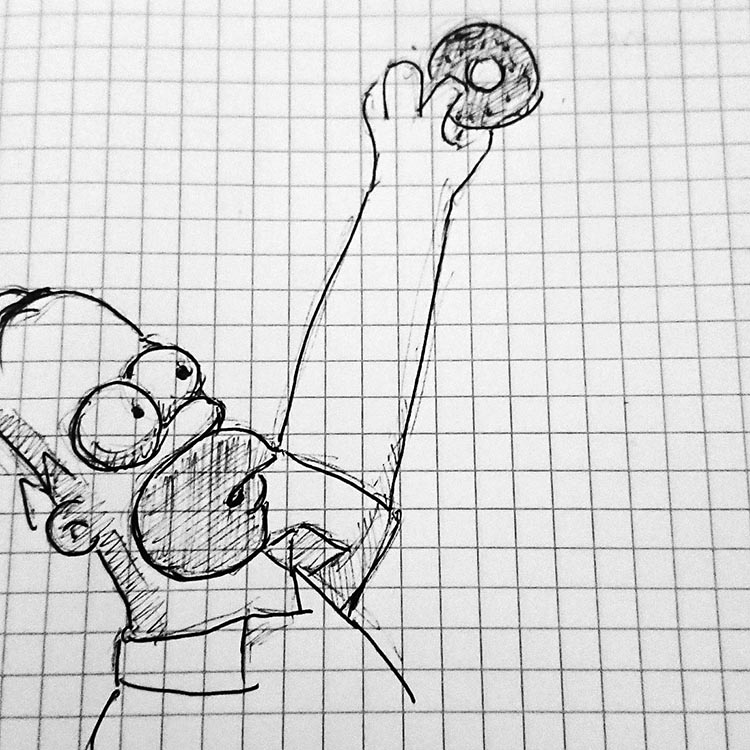 esquice d'homer simpson black and white