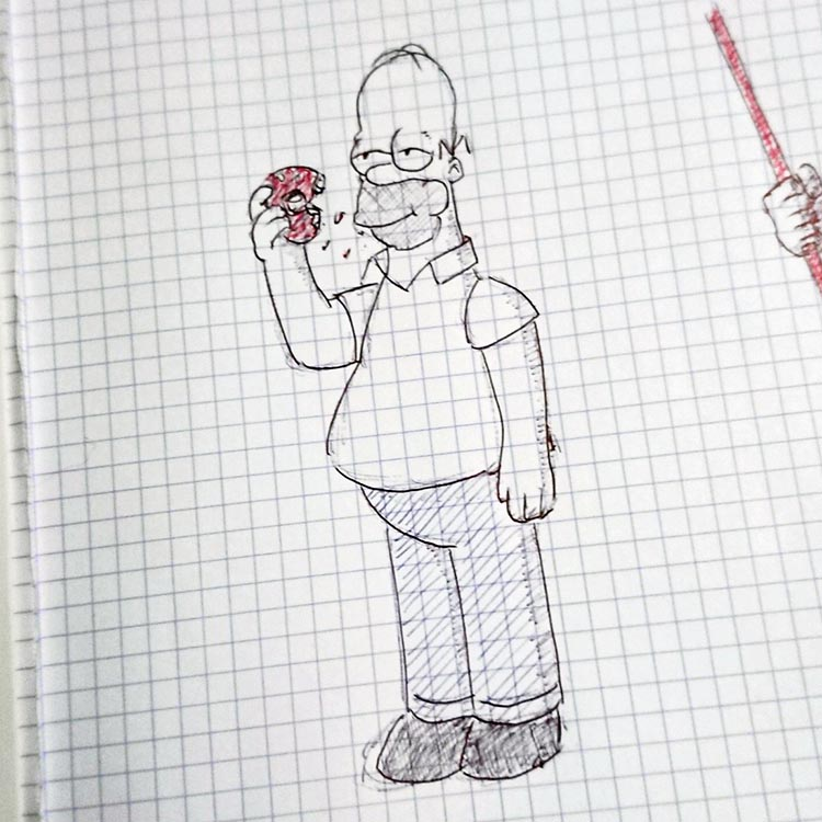 homer simpson dessiné au bic