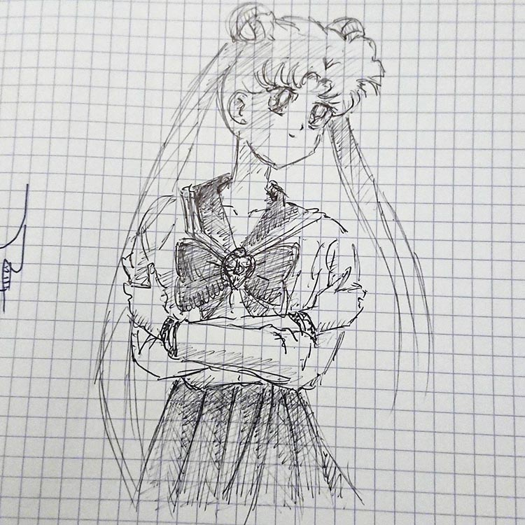 Sailor moon dessiné au stylo