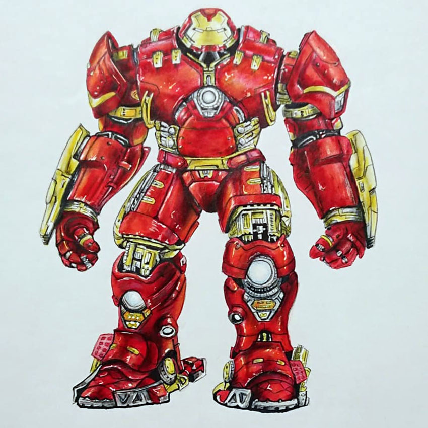 Tuto Comment Dessiner L Armure D Iron Man Hulkbuster Avec Des Graphi T Marker